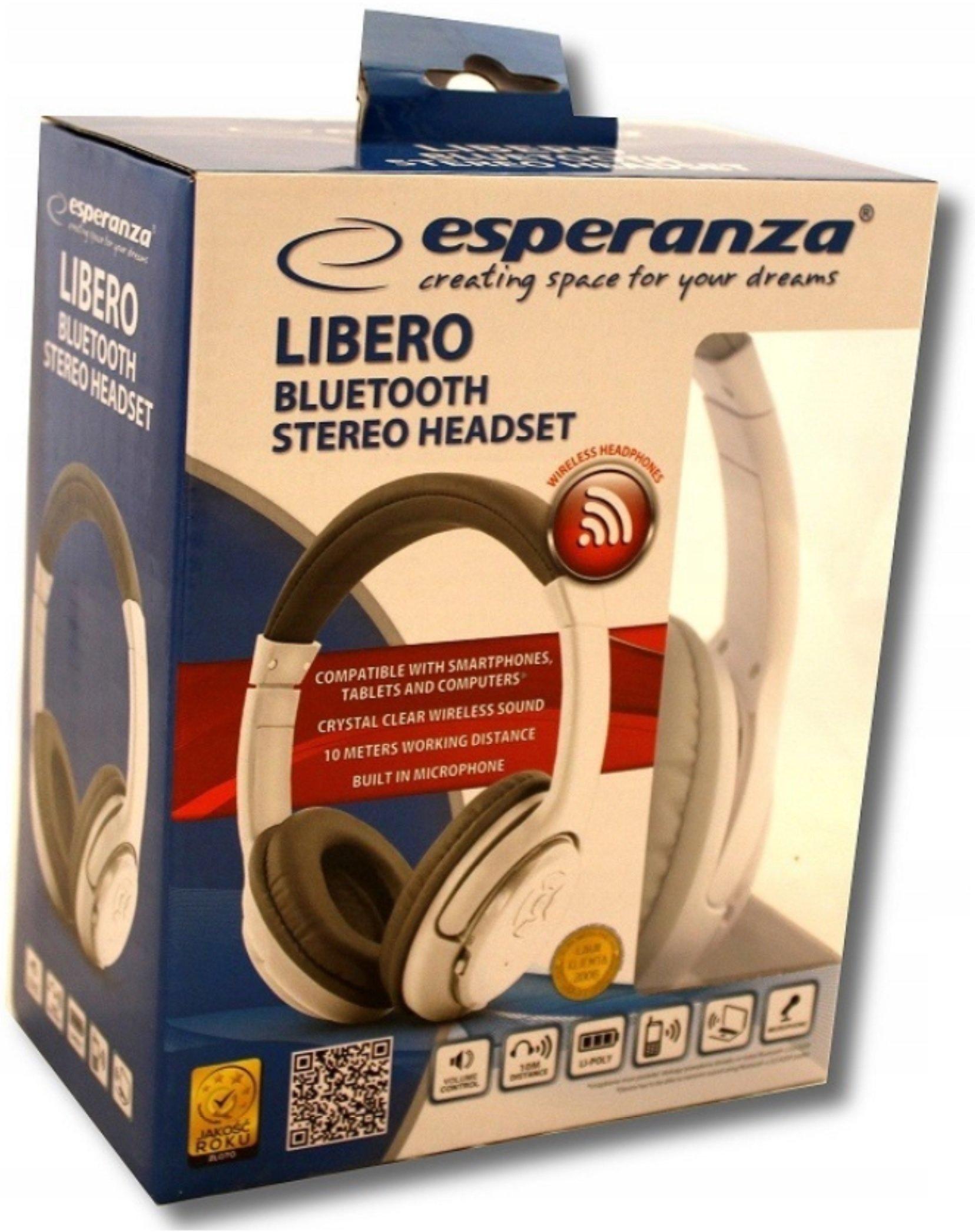 Słuchawki nauszne ESPERANZA Libero EH163W Biało szary