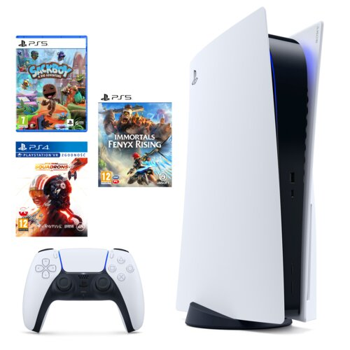PlayStation 5 + Immortals Fenyx Rising + Sackboy: A Big Adwenture + Star Wars: Squadrons