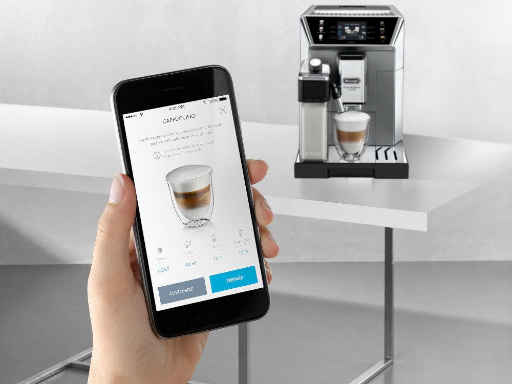 Мобильное приложение для кофемашины DELONGHI PrimaDonna Class ECAM 550.85.MS