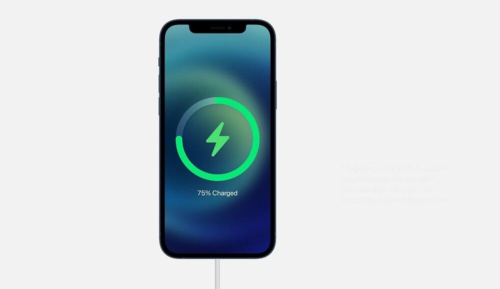 Smartfon Apple Iphone 12 ładowanie bateria pojemność bezprzewodowe indykcyjne