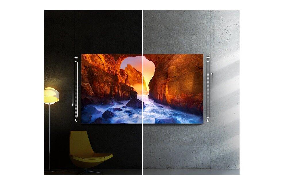 Светодиодный телевизор SAMSUNG QE65QN85A автоматически регулирует яркость.